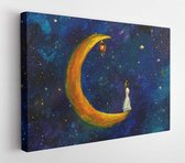 Painting oil - Girl on a big moon in space, illustration for fairy tale, fabulous worlds - modern art impressionism abstract landscape acrylic paint artwork  - Modern Art Canvas  - Horizontal - 1433925017 - 115*75 Horizontal