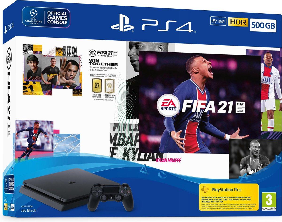 Sony PlayStation 4 Slim + FIFA 21 500 GB Wi-Fi Zwart