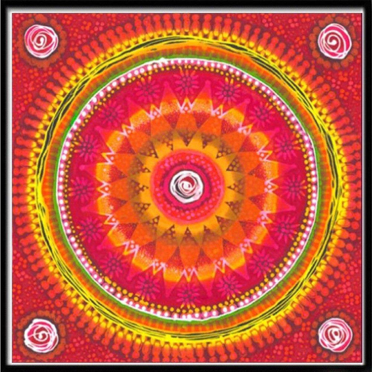 Premium Paintings - Mandala Oranje - Diamond Painting Volwassenen - Pakket Volledig / Pakket Full - 40x40 cm - Moederdag cadeautje
