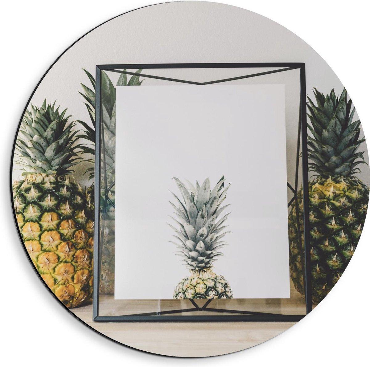 Dibond Wandcirkel - Ananas Ingelijst  - 40x40cm Foto op Aluminium Wandcirkel (met ophangsysteem)