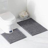 Badkamer matten set (2 stuks) - verkrijgbaar in verschillende kleuren - kleur donkergrijs