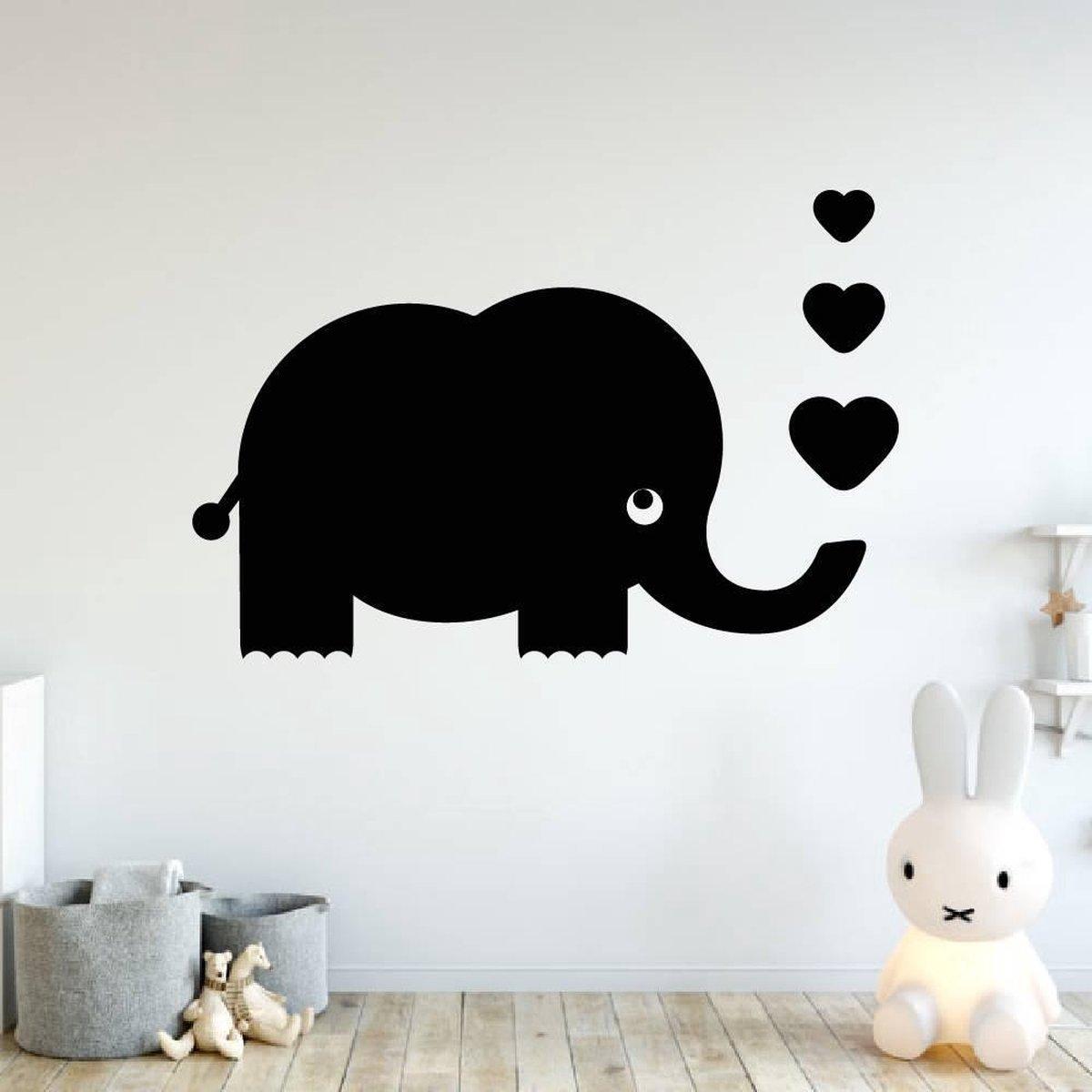 Muursticker Olifant Met Hartjes -  Groen -  100 x 71 cm  -  baby en kinderkamer    dieren - Muursticker4Sale