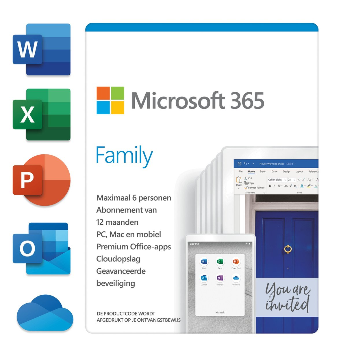 Microsoft 365 Family - Nederlands - 1 jaar abonnement