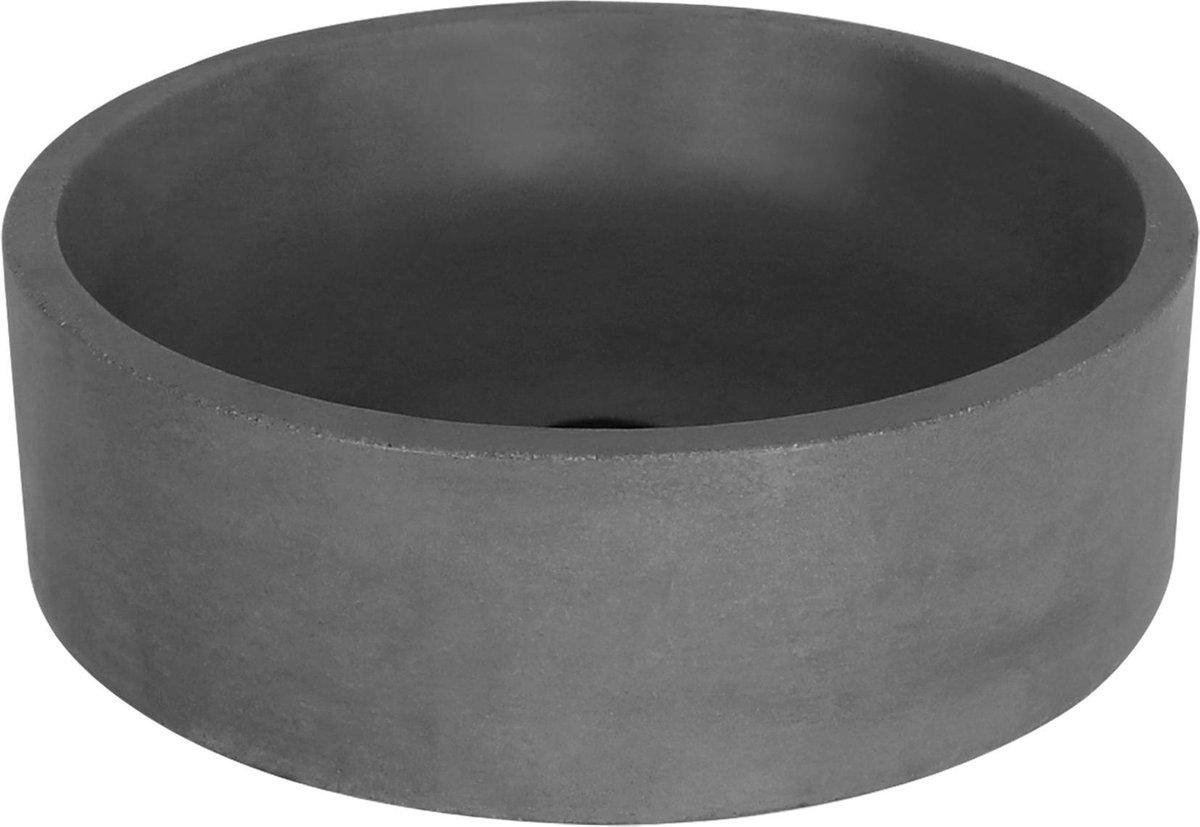 Differnz Marba - Wastafel beton donkergrijs - Rond - 42 x 42 x 13 cm