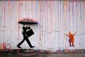 BANKSY Colorful Rainbow Umbrella Canvas Print