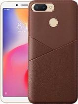 Let op type!! Ultra-dunne schokbestendige zachte TPU + lederen case voor Xiaomi Redmi 6 (zwart)