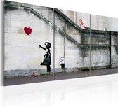 Schilderijen Op Canvas - Schilderij - Er is altijd hoop (Banksy) - drieluik 60x30 - Artgeist Schilderij