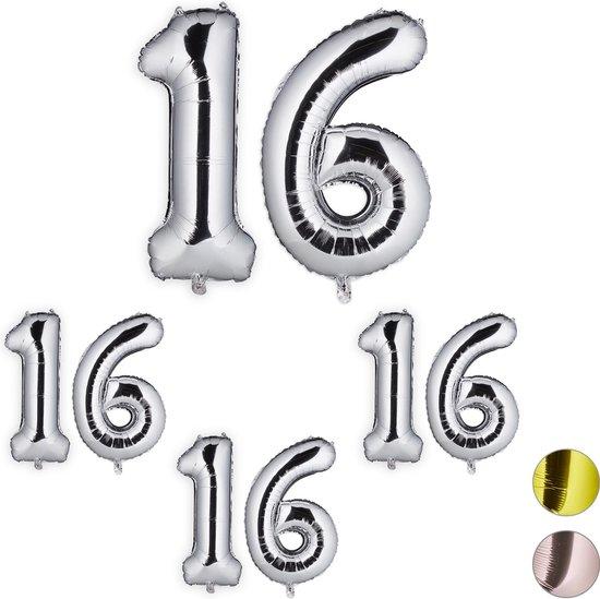 relaxdays 4x folie ballon 16 - cijfer ballon - groot - xxl ballon - verjaardag - zilver