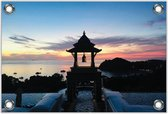 Tuinposter –Klokkentoren met Zonsondergang– 90x60 Foto op Tuinposter (wanddecoratie voor buiten en binnen)