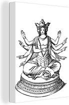 Antieke illustratie van een Shiva canvas 120x160 cm - Foto print op Canvas schilderij (Wanddecoratie woonkamer / slaapkamer) XXL / Groot formaat!