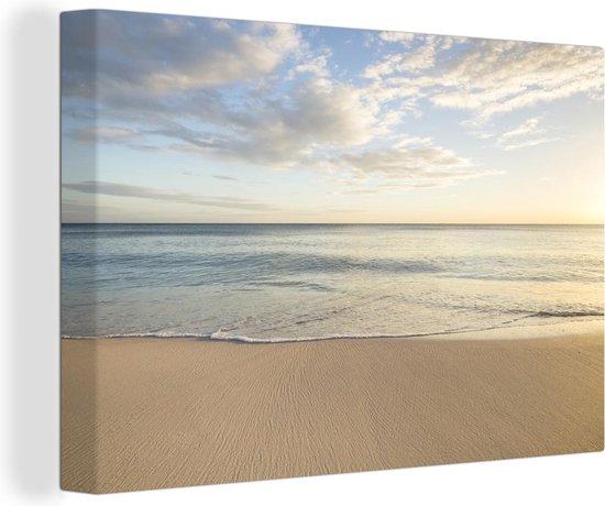 Oceaangolf op het strand canvas 60x40 cm - Foto print op Canvas schilderij (Wanddecoratie woonkamer / slaapkamer)