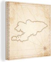 Een illustratie van een kaart van Kirgistan 20x20 cm - klein - Foto print op Canvas schilderij (Wanddecoratie woonkamer / slaapkamer)