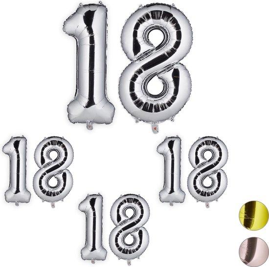 relaxdays 4x folieballon cijfer 18 - luchtballon - cijfer ballon - lucht   helium - zilver