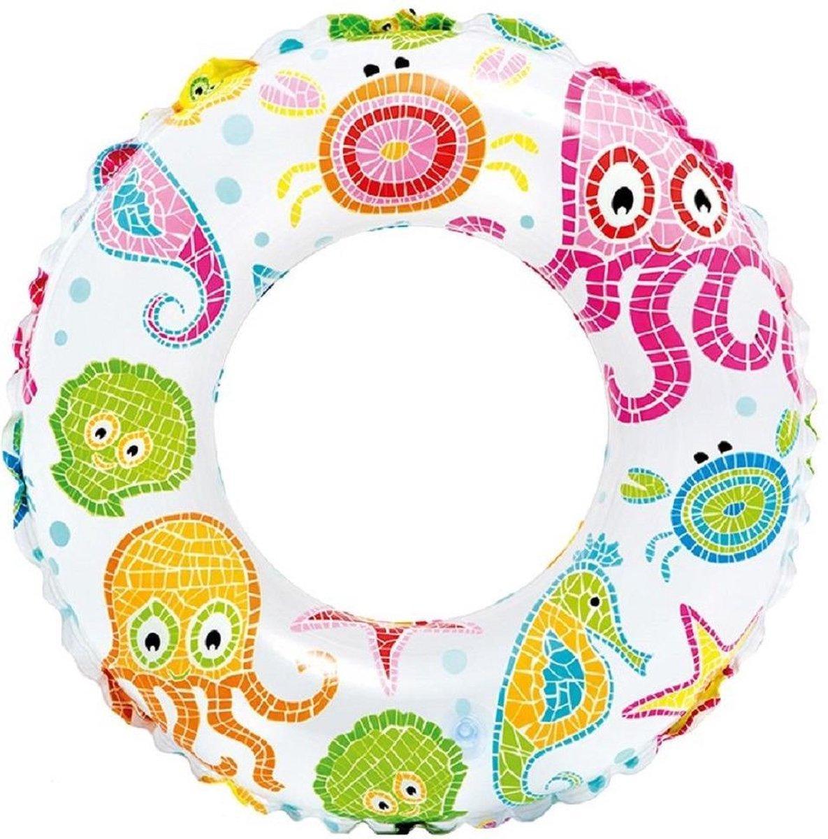 Opblaasbare transparante zwemband zeedieren 51 cm - Zwembenodigdheden - Zwemringen - Zee/oceaan thema - Zeedieren print zwembanden voor kinderen