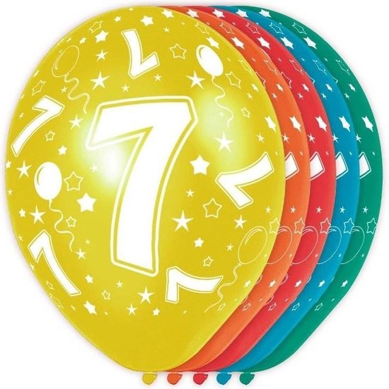 20x stuks 7 Jaar thema versiering helium ballonnen 30 cm - Verjaardag feestartikelen/versiering