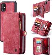 CASEME Luxe Leren Portemonnee hoesje voor de Samsung Galaxy A51 - rood