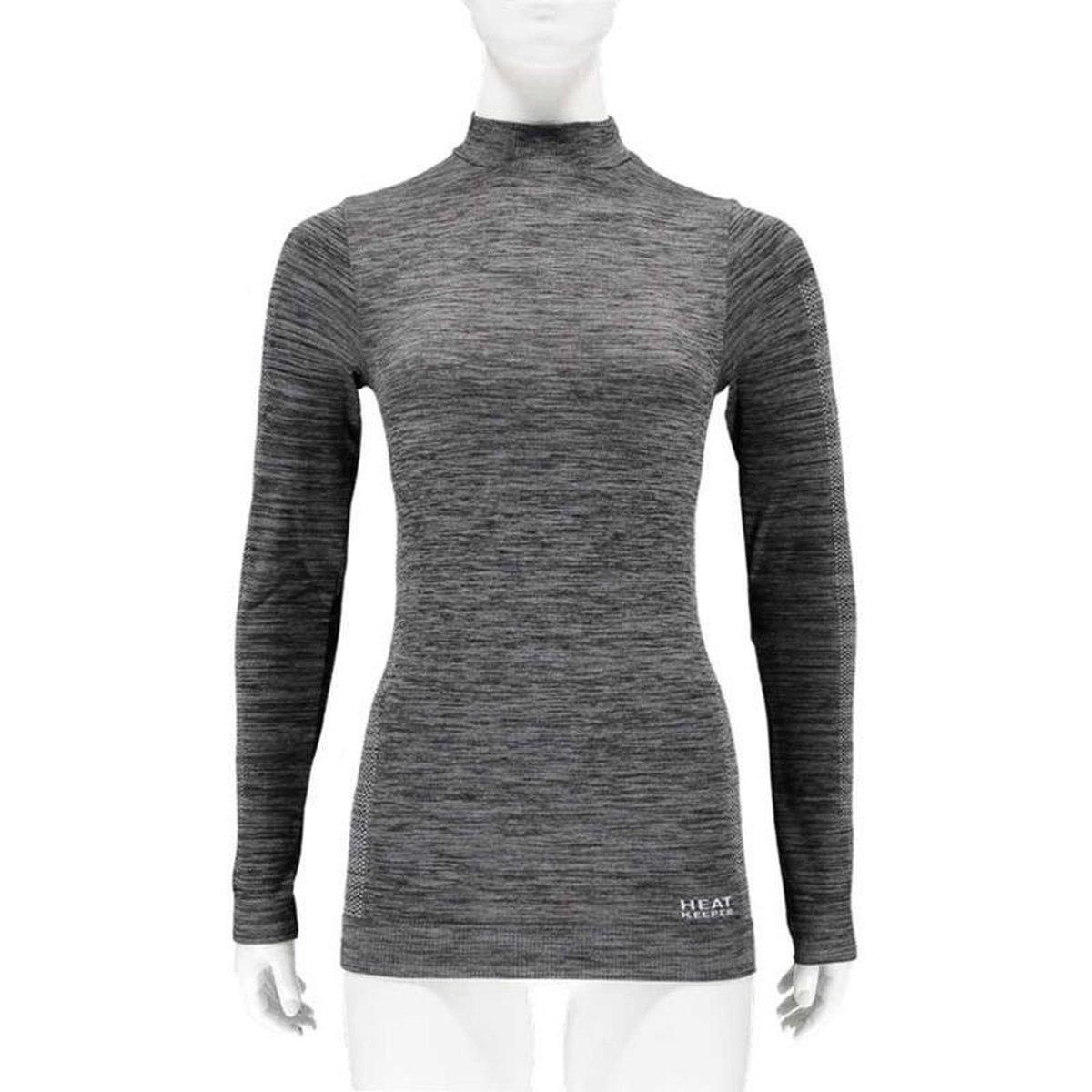Thermo shirt zwart melange lange mouwen voor dames - Wintersport kleding - Thermokleding - Lange mouw shirt L (40)