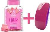 Hair Vitamins SweetBunnyHare Biotine - Haar Vitamine 60 Stuks + Tangle Mouse Borstel Neon Pink