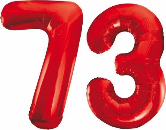 Folieballon 73 jaar rood 86cm