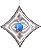 BlinQ Art Windspinner Ruit RVS - 180x180mm - Glaskogel 35mm blauw