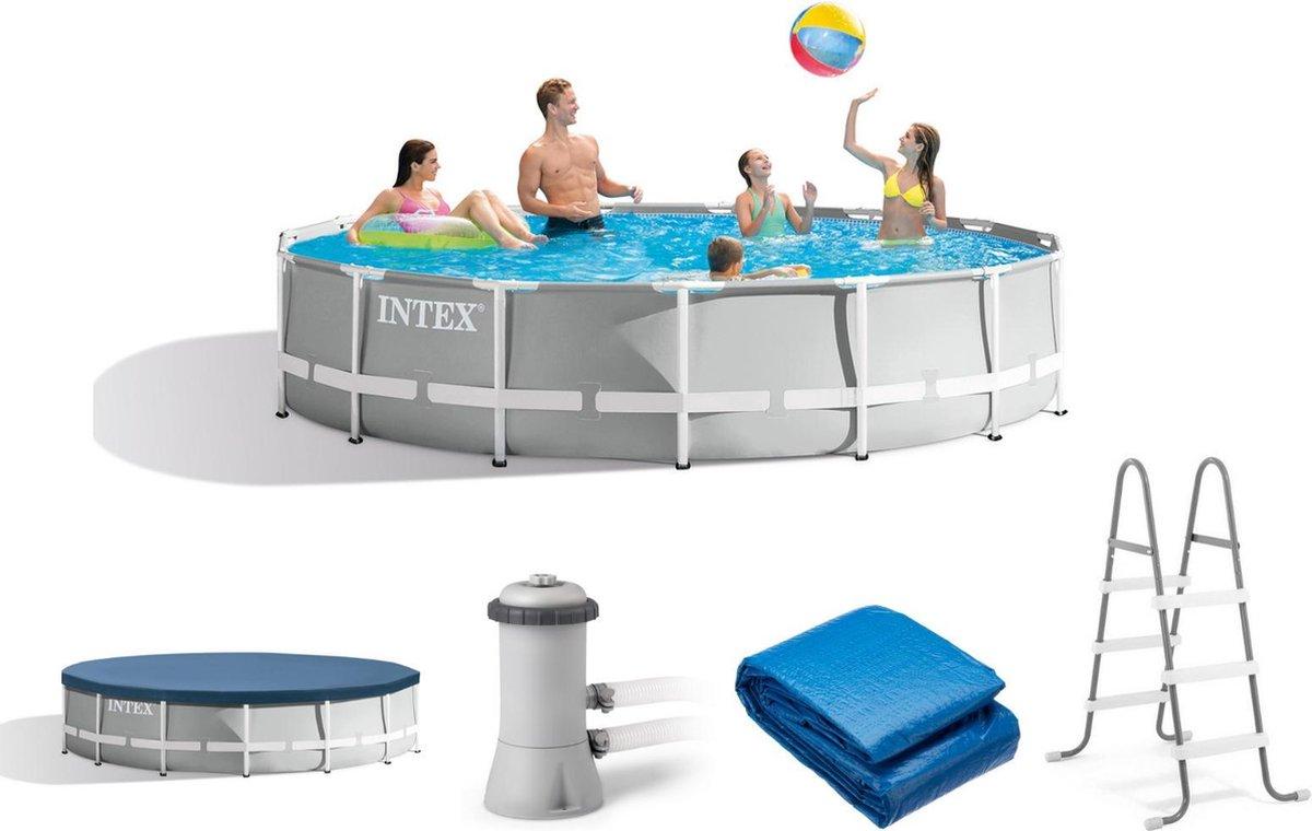 Intex Opzetzwembad - Prism Frame - Ø457 x 107 - Met Accessoires - Grijs