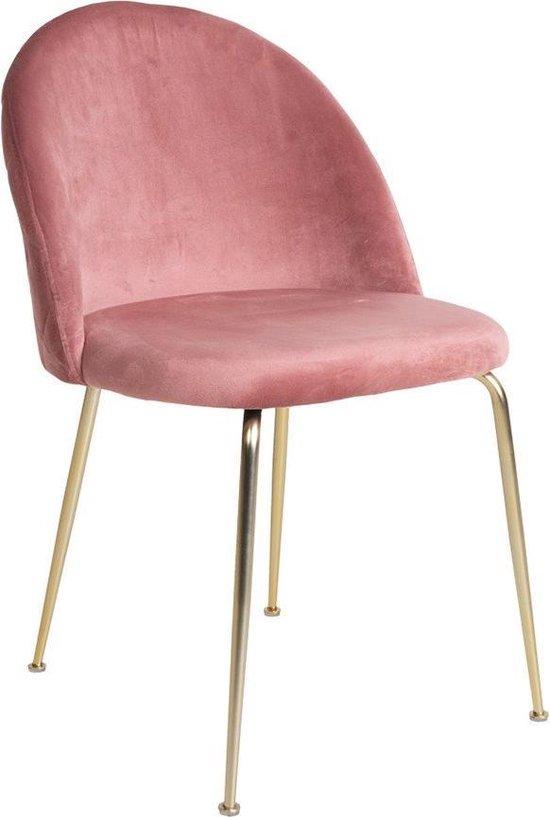 House Collection Velvet Eetkamerstoel Stina Gold Roze