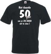 Mijncadeautje Unisex T-shirt zwart (maat M) Het duurde 50 jaar om er zo goed uit te zien