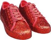 Rode glitter disco sneakers/schoenen voor dames 41