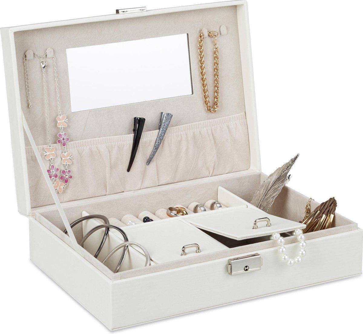 relaxdays sieradendoos kunstleer - sieradenkistje met slot - juwelendoos - met spiegel wit - Relaxdays