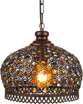 EGLO Vintage Jadida Hanglamp - 1 Lichts - Ø330mm. - Koperkleurig - Bont