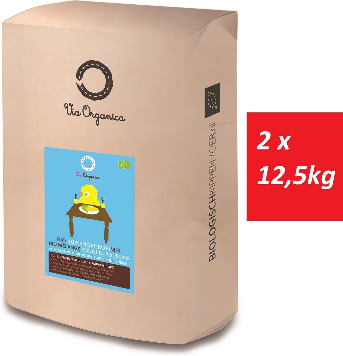 Bio Kuikenopgroeimix 2 x 12,5kg - biologisch kippenvoer - Via Organica