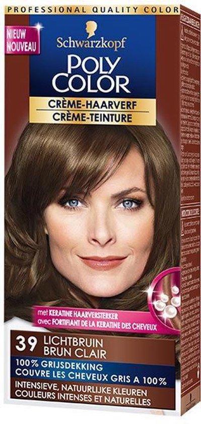 Poly Color Crème Haarverf 39 Lichtbruin - 1 stuk - intensieve, natuurlijke kleuren met 100% grijsdekking