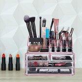 relaxdays make-up organizer - tweedelig - cosmetica opbergdoos + lippenstift houder Roze-strepen