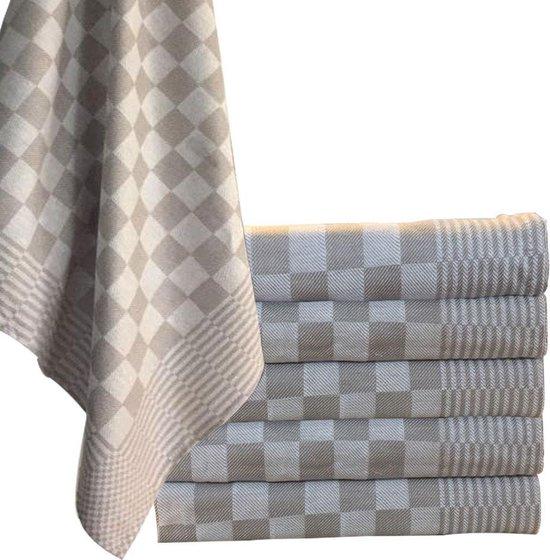 Homéé® theedoeken 65x65 cm - Holland Art geblokt - 100% katoen - 6 stuks taupe - wit