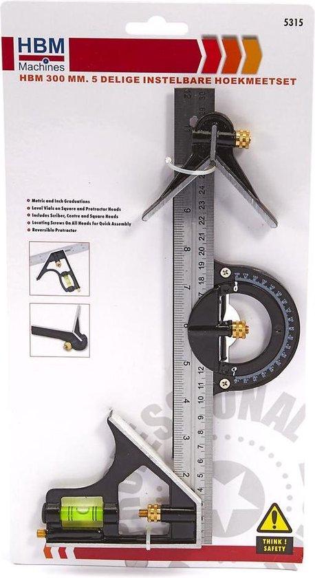 HBM 300 mm. 5 Delige Instelbare Hoekmeetset - HBM machines