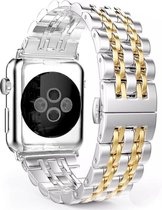 Apple watch rvs schakel band - zilver goud - 42mm en 44mm