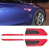 2 STKS Koolstofvezel Auto-Styling Fender Reflecterende Bumper Decoratieve Strip, Externe Reflectie + Inner Carbon Fiber (Rood)