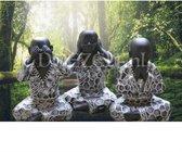 Horen, Zien en Zwijgen Boeddha - Diamond Painting 40x60 (Volledige bedekking - Vierkante steentjes)