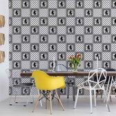 Fotobehang Vintage Tiles Pattern Black And White | VEA - 206cm x 275cm | 130gr/m2 Vlies