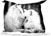 PillowMonkey zitzak - Twee witte wolven in de sneeuw - zwart wit - 140x100 cm - Binnen en Buiten