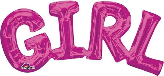 Folieballon 'Girl'- Roze