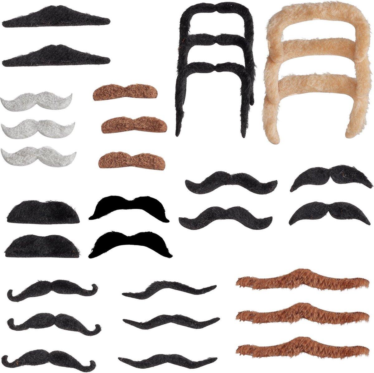 relaxdays plaksnor - 32 stuks - zelfklevende snor - neppe baard - verkleed accessoire