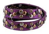 Armband Dames  - Wikkelarmband met Studs - Lengte 40 cm - Paars - Musthaves