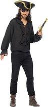 SMIFFYS - Luxe zwarte piraten blouse voor mannen - XL - Volwassenen kostuums