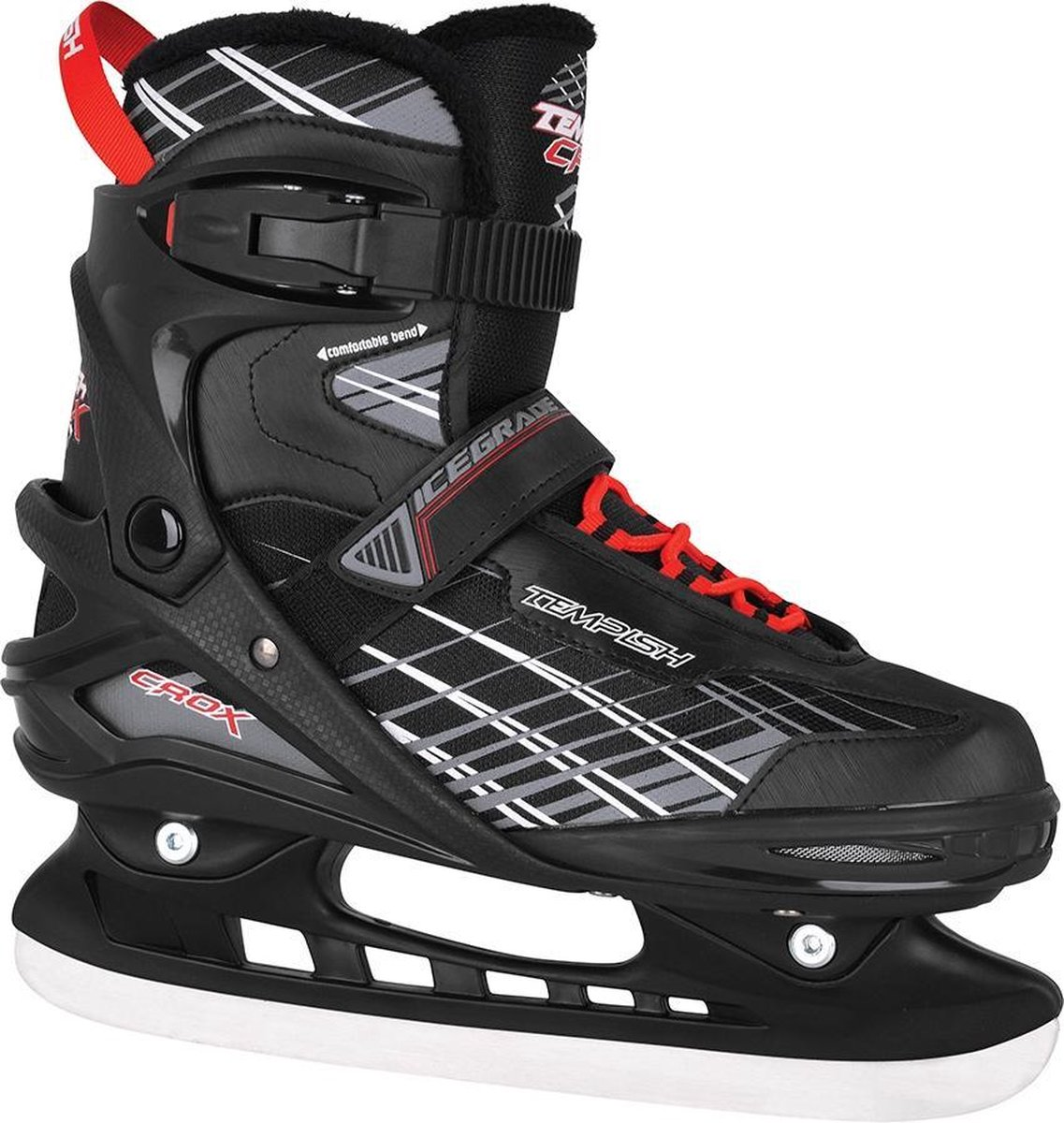 Tempish IJshockeyschaatsen CROX Zwart/Rood 43