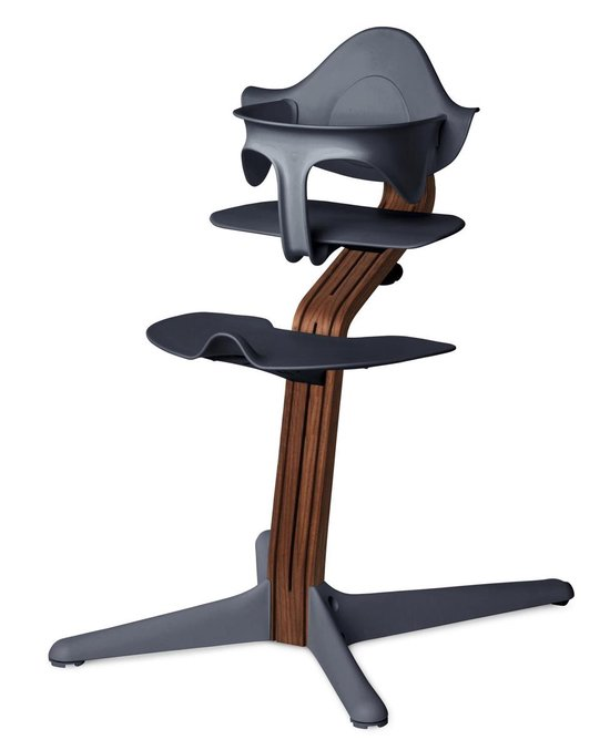 NOMI highchair kinderstoel complete set vanaf de geboorte Basis walnoot nature oiled en stoel antraciet