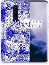 Silicone Back Case OnePlus 7 Pro Angel Skull Blue
