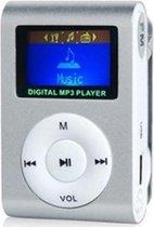 mini clip MP3 speler met display Zilver en in-ear