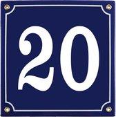 Emaille huisnummer blauw nr. 20