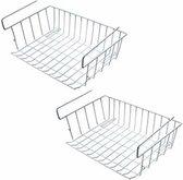 2x Kast opberg/opruim mandje van staal 42 X 27 cm - Huishoud opbergmandjes/opruimmandjes voor in de kast